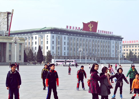 American Travel to the DPRK: Rollerblading on Kim Il Sung Square